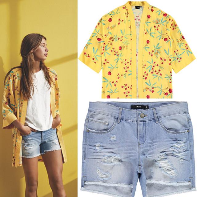 Kimono og shorts fra LMTD💛